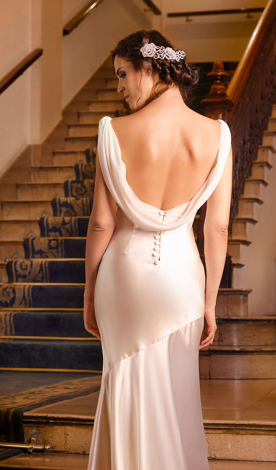 Satin Cowl Back Neck Wedding Dress Detail Rollover Main Image To View Here