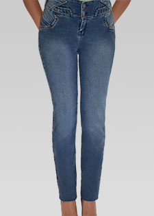 MID-RISE STRAIGHT LEG JEANS WITH WAISTBAND DETAIL
