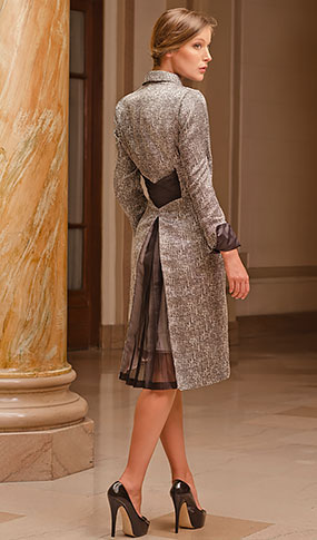 Grey/Silver coat with pleated silk organza detail