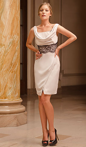 Silver silk short dress with a cowl neck and a black lace front detail